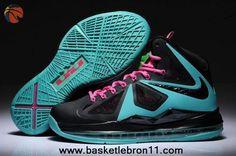179e4fc44137 Womens Nike Lebron X Black New BLue-Pink For Wholesale Baskets Nike