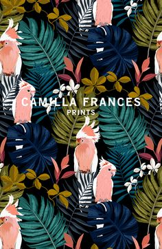 Camilla Frances is a individual print creator, leading a team that combines unique, personal design sensibilities with traditional hand drawing techniques to craft an ever-growing world of prints. Pattern Illustration, Art And Illustration, Textile Patterns, Print Patterns, Textiles, Palettes Color, Tropical Pattern, Motif Floral, Grafik Design