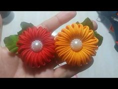 Tutorial Bros Donat Model 5 - YouTube Diy Lace Ribbon Flowers, Kanzashi Flowers, Ribbon Art, Ribbon Crafts, Flower Crafts, Fabric Flowers, Kanzashi Tutorial, Flower Tutorial, Hand Embroidery Designs