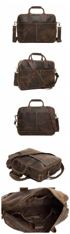 17904d9168b9 Distressed Leather Briefcase