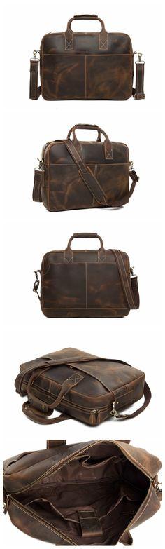 Vintage Crazy Horse Leather Briefcase Messenger Bag Laptop Bag                                                                                                                                                                                 More