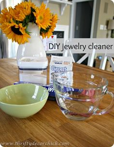 DIY jewelry cleaner: But NEVER NEVER NEVER take any type of brush to your jewelry. Anything abrasive can scratch up the surface of the metal. Take it from me - I am a Jeweler's Daughter :) And don't EVER use toothepaste... its too abrasive. Just tried it and my jewely is sparkling again.