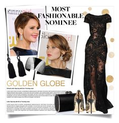 """""""Jennifer Lawrence/Golden Globes"""" by clotheshawg ❤ liked on Polyvore featuring Jimmy Choo and Oscar de la Renta"""
