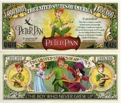 Disney's Peter Pan Collector Novelty Bills W/Semi Ridged Bill Holder! Disney Money, Disney Fun, Disney Magic, Peter Pan Cartoon, Weird Stuff On Amazon, Disney Activities, Monopoly, Disney Movie Characters, Coin Values