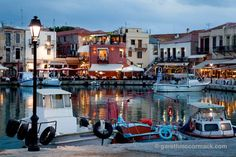 Evening in the Venetian harbour, Rethymnon, Crete, Greece. Stock Photo LOVELY BASE FOR THE STUNNING BEACHES NEARBY