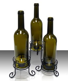 Look at this Wine Bottle Candleholder - Set of Three on #zulily today!