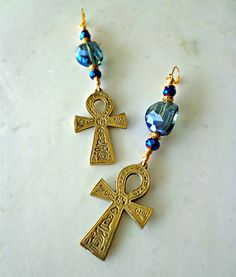 Solid Brass Egyptian Ankh Crystal Earrings, Egyptian Statement Jewelry, African Earrings, Ancient Jewelry, Khepera Adornments by KheperaAdornments on Etsy https://www.etsy.com/listing/223692917/solid-brass-egyptian-ankh-crystal