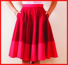 Aprenda de uma maneira muito simples a traçar o molde desta saia godê e arrase na moda!    Foto Divulgação        Peça de cintura marcada e...