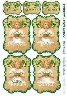 Samolepicí etikety na dózy s potravinami 11, 3 archy, holčičky Recipe Cards, Arches, Free Printables, Decoupage, Diy And Crafts, Card Making, Stencil, Kids Rugs, Frame