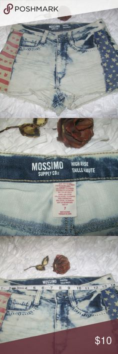 Mossimo Acid Wash Distressed Shorts Mossimo Acid Wash Shorts With Patriotic Stars and Strip Graphic Size 7. Item is in good shape with no stains or holes. See pics for measurements and details. Check out my store for more details. Will consider all offers. Mossimo Supply Co. Shorts Jean Shorts