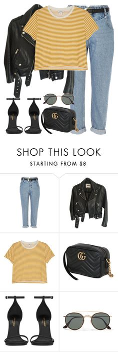 """Untitled #3065"" by elenaday on Polyvore featuring River Island, Acne Studios, Monki, Gucci, Yves Saint Laurent and Ray-Ban"