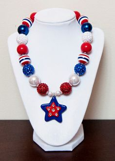 Red White and Blue Star Chunky Bubblegum by PinkLiliesBoutique