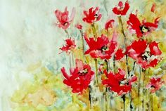 """Saatchi Online Artist: Karin Johannesson; Watercolor, 2013, Painting """"Big Red Poppies"""""""