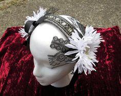 Tribal Belly dance Flower Lace Headband Headdress Pagan Music Festival Renaissance Fairy Wedding Black White Gold Rhinestone