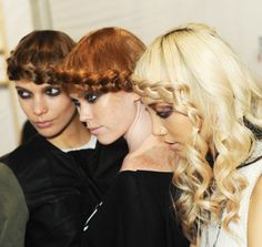 Wrapped braid around the forehead as a #Headband #Tiara  #Hair #Style #Trend for Spring Summer 2013.  Backstage @ Emerson Spring Summer 2013.