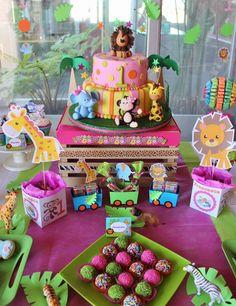 Baby Jungle Animals Birthday Party // Fiesta de animales de la jungla
