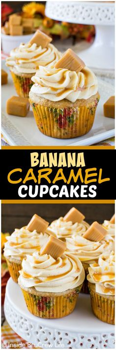 Banana Caramel Cupcakes - three times the caramel gives these easy banana cupcakes a sweet flavor. Great dessert recipe for parties! (simple recipes for party) Caramel Cupcakes, Banana Cupcakes, Yummy Cupcakes, Mocha Cupcakes, Gourmet Cupcakes, Strawberry Cupcakes, Easter Cupcakes, Velvet Cupcakes, Flower Cupcakes