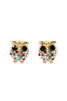 Love this cute earrings! Poppy Crystal Owl Earrings on Emma Stine Limited