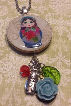 Bracelet with matryoshka charm and Green velvet and Lace bow,OOAK Wrap Nesting doll bracelet for her