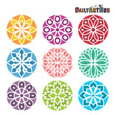 FREE Simple Mandala Clip Art Set