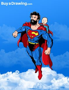 It's a bird...it's a plane...it's SUPERDAD!!! Check out this really cool custom drawing Lidia V. ordered from me as a Father's Day gift for her lucky husband. #superman #superdad #superhero #superbaby #husband #dad #cartoon #super #hero #comic #comicbook #drawing #cartoonist #cartoon #illustration #illustrator #draw #buyadrawing #art #artwork #artist #caricature #caricatures