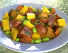 roasted sweet potato mango edamame salad
