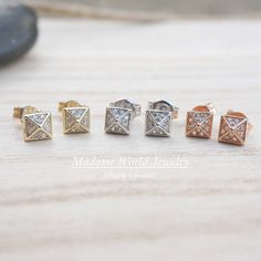 Dainty CZ Pyramid Stud Earrings CZ Spiky Stud Earrings
