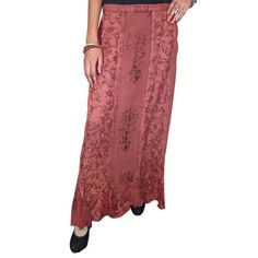 Mogulinterior Bohemian Maxi Skirt Brown Embroidered Long Hippie Gypsy Skirt for Womens