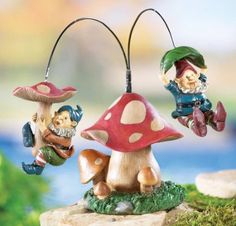 Flying Gnomes On A Mushroom Garden Stake Sculpture By Collections Etc: