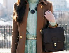 love the mix with the coat & tweed skirt