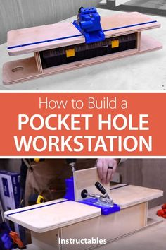 Build a pocket hole workstation for your workshop. It can store everything you need so you don't have to search around for the right pocket hole screws, drill bits, drivers or the adjustment hardware for your jig. projects tips woodworking Woodworking Jig Plans, Woodworking Shop Layout, Woodworking For Kids, Woodworking Workshop, Easy Woodworking Projects, Popular Woodworking, Woodworking Furniture, Woodworking Jigsaw, Wood Furniture