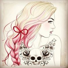 If I were to get an upper chest tattoo, it would definitely be the roses and skull she has on her.