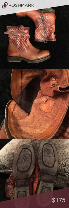 A.S. 98 Ankle Boots Rare find in cognac. Worn twice maybe. Super clean. Designed with a distressed look to the soles and leather. Very cool fish scale effect on the shaft. Unique finishing details with zipper and leather. TTS as a 7.5 that is labeled as 38. I wear 7.5 and they fit perfectly. I just never wear them. Trying to downsize. A.S. 98 Shoes Ankle Boots & Booties