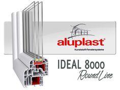 aluplast ideal 8000 round line Έχετε την δυνατότητα να αγγίξετε το τέλειο με Uw= 0,67 W/m²K. Εξαθαλαμικό προφίλ με τρία επίπεδα σφράγισης.Πάχος υάλωσης έως 59mm.