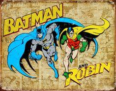 Batman and Robin Weathered Panels Placa de lata na AllPosters.com.br