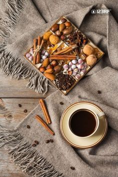 Hygge style autumn flat lay photography