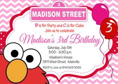Elmo Girl Pink and Red Birthday Party Invitation - Digital File