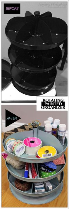 Turn a plain back tool bin into a fabulous Painted Rotating Organizer - Anything & Everything