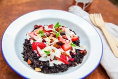 Black rice pudding with coconut cream is a classic dish and the perfect winter warmer treat. Garnish with all your favourite fruits and nuts and you'll be hooked!