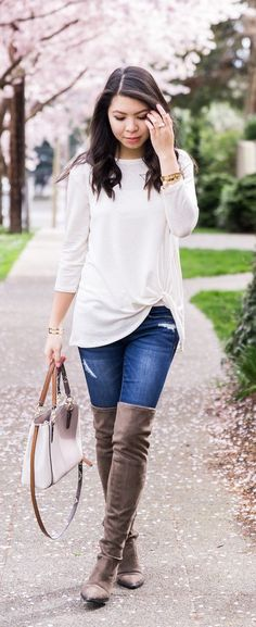 Marc Fisher over the knee boots, twisted knot top, casual cute fall fashion, Seattle fashion blogger