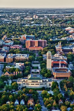 University of Michigan Ann Arbor campus Ann Arbor, State Of Michigan, Michigan Wolverines, University Of Michigan Campus, Go Blue, Great Lakes, Aerial View, Places To See, Beautiful Places