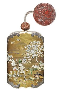 A gold-lacquer and silver-mounted Shibayama-inlaid three-case inro Meiji Era