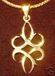 Gold Plated Celtic WICCA knot Pendant Charm Jewelry Sterling Silver 925 Jewelry