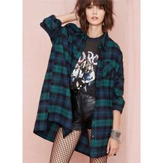 ROMWE Check Print Loose Green Blouse NEW, hanging in my closet   Pattern Type :Plaid Sleeve Length :Long Sleeve Color :Green Material :Cotton Style :Casual Collar :Lapel ROMWE Tops Blouses