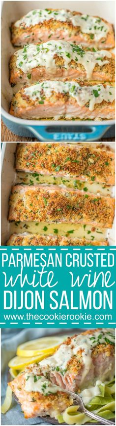 PARMESAN CRUSTED WHITE WINE DIJON SALMON is our very favorite way to enjoy seafood! Salmon coated with a crispy garlic parmesan crust and drenched in an amazing white wine dijon. TO DIE FOR! via @beckygallhardin