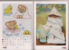 Orsetto e papera per il bagno Cross Stitch Baby, Cross Stitch Patterns, Minions Fans, Winnie The Pooh, Baby Boy, Embroidery, Cards, Baby Announcements, Manualidades