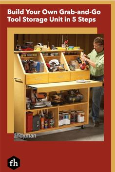 Build Your Own Grab-and-Go Tool Storage Unit in 5 Steps Handyman Magazine, Work Surface, Drawer Fronts, Tool Storage, Build Your Own, Panel Doors, Working Area, Organization Hacks, Shoe Rack