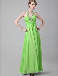 A Line Halter Floor Length Green Evening Dress Affordable Evening Gowns, Evening Dresses Online, Quinceanera Dresses, Homecoming Dresses, Wedding Dresses, Green Evening Dress, Beautiful Gowns, Special Occasion Dresses, Floor