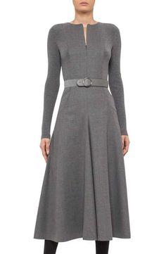 Akris punto Knit Panel Wool A-Line Midi Dress