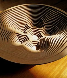 Wooden Contour Fruit Bowl by Thomas Pavitte. I think i will make this on the laser cutter asap!